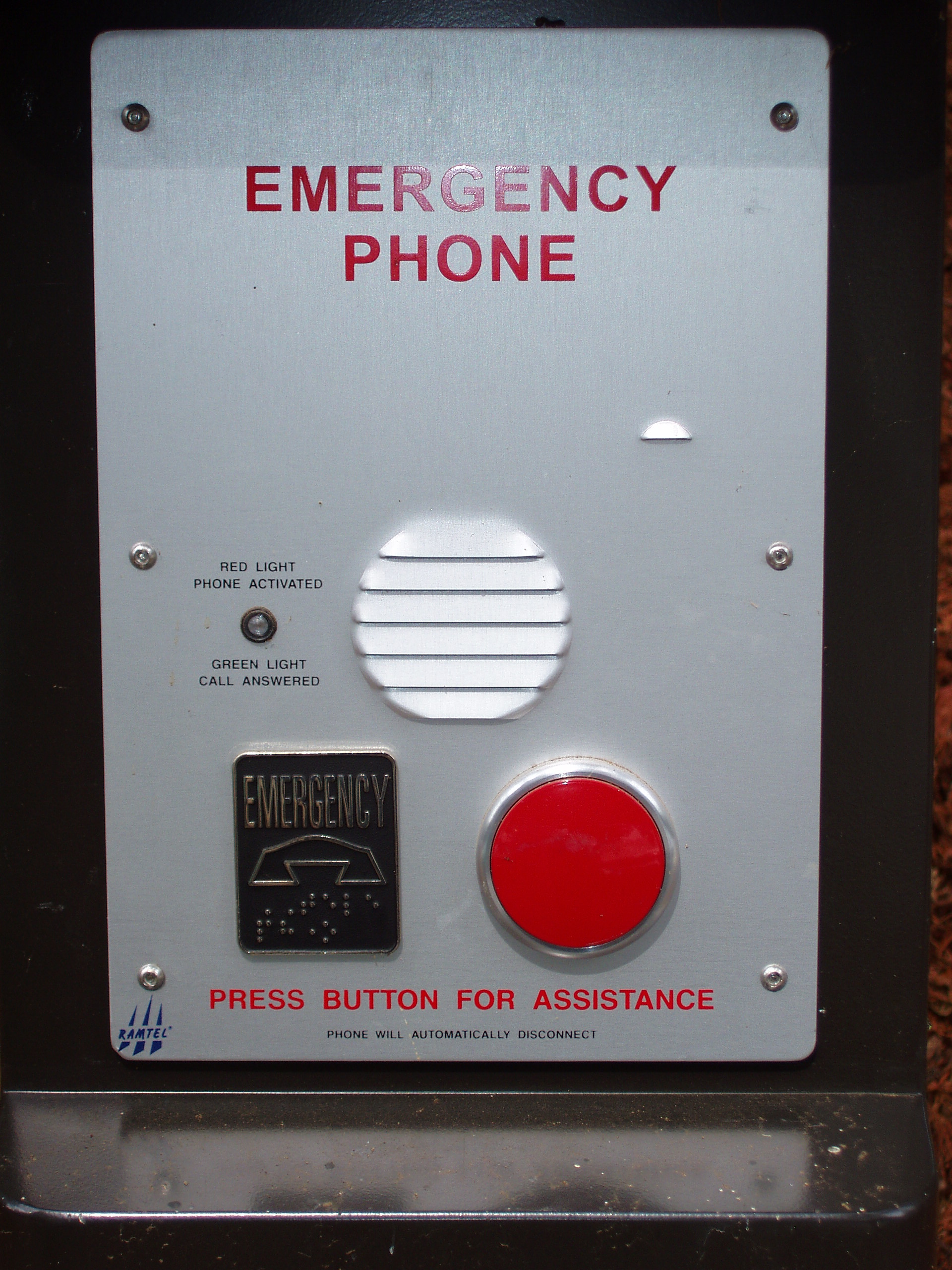 Photo of tower-style emergency phone panel